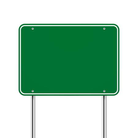 sign pole: blank green road sign over white background Illustration