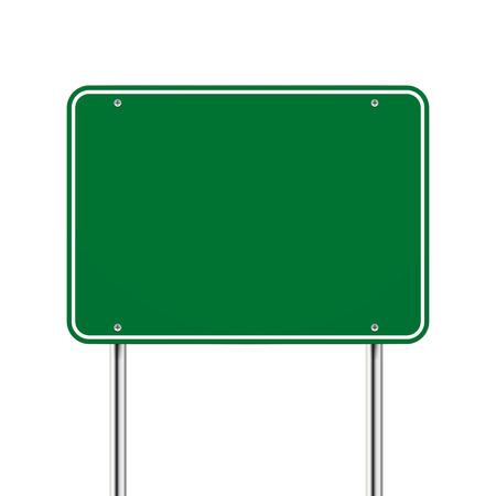 metales: en blanco señal de carretera verde sobre fondo blanco