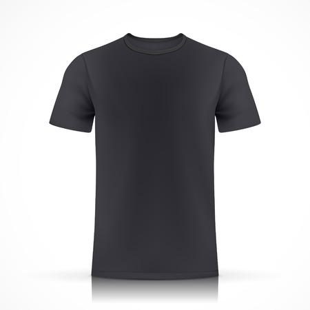 白い背景で隔離の黒の t シャツ テンプレート  イラスト・ベクター素材
