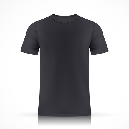short sleeve: black T-shirt template  isolated on white background