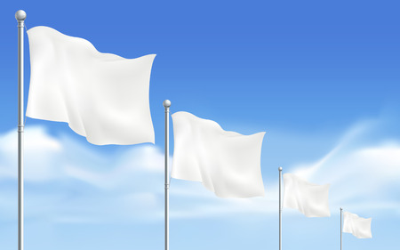 surrendering: blank white flags isolated on white background