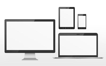 apparaat set die TV, tablet, smartphone en laptop is voorzien van een witte achtergrond Stock Illustratie
