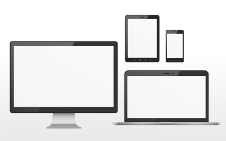 device set that includes TV, tablet, smart phone and laptop over white background Vettoriali