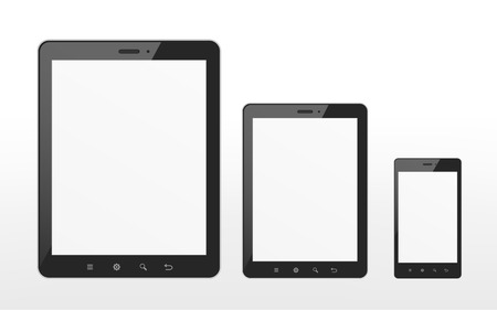 different sizes of tablet and smart phone over white background Stock Vector - 30433121