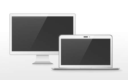 flat screen tv: device set with flat screen TV and laptop over white background