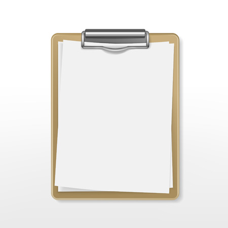 clipboard with blank paper over white background
