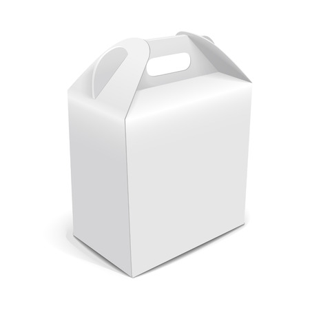 blank paper packaging bag with handle isolated on white background