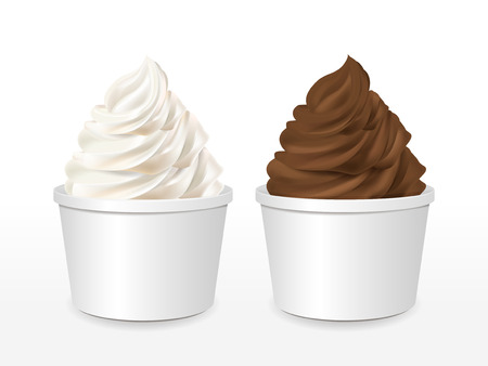 sundae: blank paper cup with milk and chocolate ice cream isolated over white background
