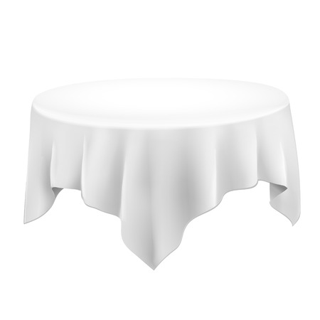 close up of a blank tablecloth isolated on white background Vector