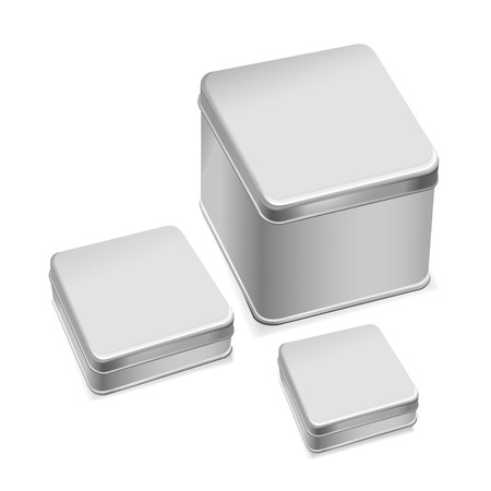 business case: blank metal box template isolated over white background