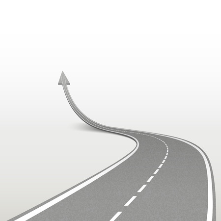 winding road in arrow shape isolated over white background Vettoriali