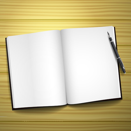 blank open book on desk with a pen  Vector