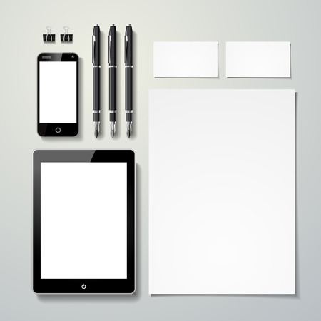 blank stationery set template isolated on grey  Illustration