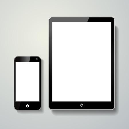téléphone et le pavé tactile portable blanc isolé sur fond gris Vecteurs