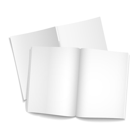 books isolated: blank open books isolated over white background  Illustration