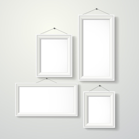 blank photo frames set isolated over grey  Vector