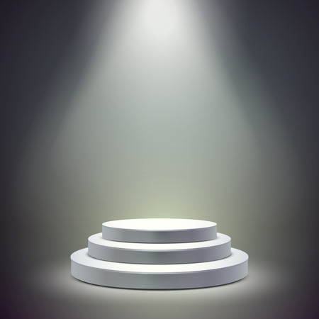 blank round stage isolated over dark background Vector