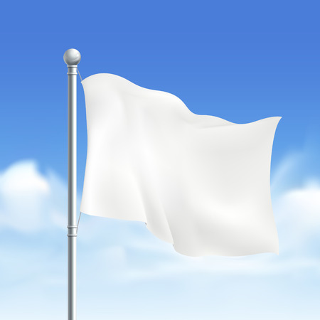 blank white flag isolated on white background Ilustrace