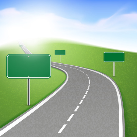 winding road with several blank road signs   イラスト・ベクター素材