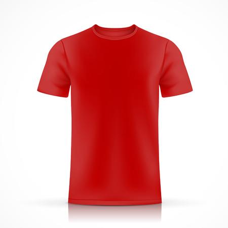 白い背景で隔離赤い t シャツ テンプレート