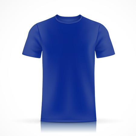 白い背景に分離された青い t シャツ テンプレート