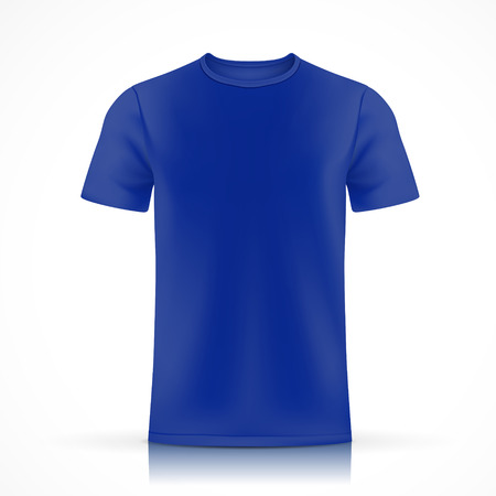blue T-shirt template  isolated on white background Vettoriali