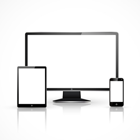 device set that includes TV, tablet, smart phone and laptop