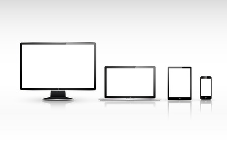 responsive design: device set that includes TV, tablet, smart phone and laptop over white background Illustration