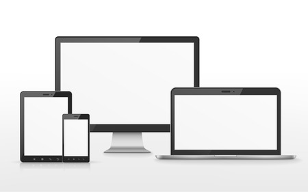 mobile devices: device set that includes TV, tablet, smart phone and laptop over white background Illustration