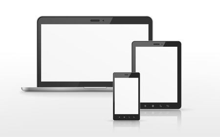 device set that includes TV, tablet, smart phone over white background