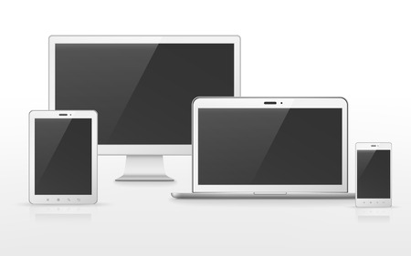 electronic devices: device set that includes TV, tablet, smart phone and laptop over white background Illustration