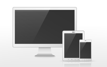 mobile device: device set that includes TV, tablet, smart phone over white background