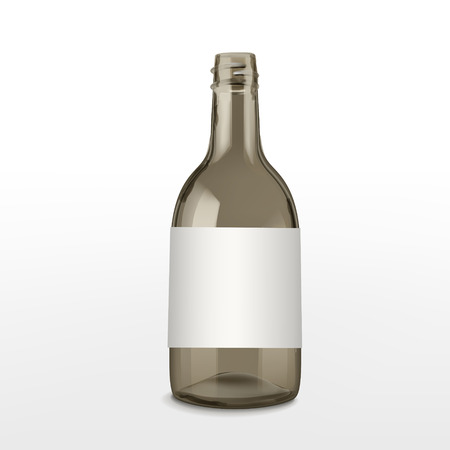 empty brown glass bottle isolated on white background