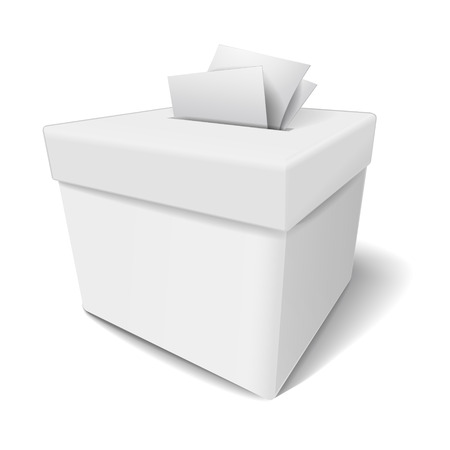 designate: close up of a ballot box and casting vote on white background Illustration