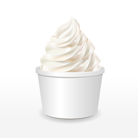 yogurt ice cream: blank paper cup with milk ice cream isolated over white background
