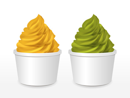 blank paper cup with mango and matcha ice cream isolated over white background Vector