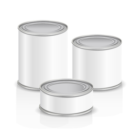 metal cans with blank label isolated on white background Vector