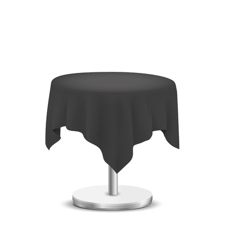table cloth: white round table with black cloth isolated on white background