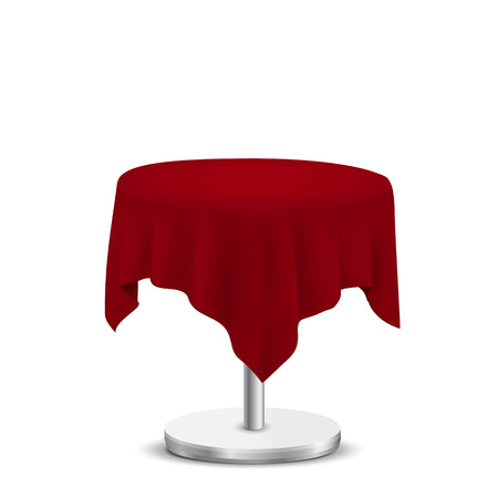 table decor: white round table with red cloth isolated on white background