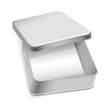 tin packaging: blank metal box template isolated over white background