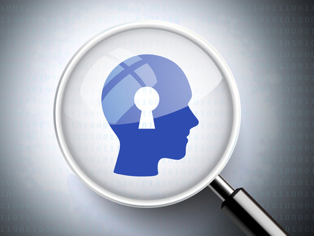 magnifying glass with keyhole on head for data concept  Vector