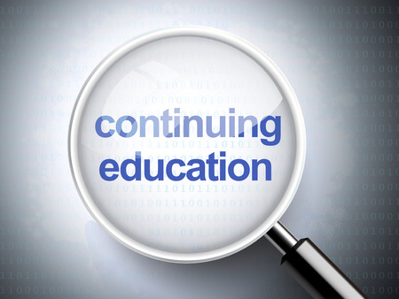 디지털 배경에 교육을 계속하는 단어와 돋보기 일러스트