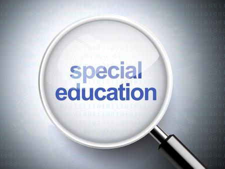 special education: lupa con palabras de educaci�n especial sobre fondo digital