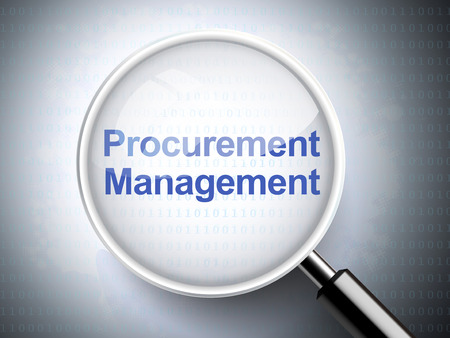 procurement: magnifying glass with words procurement management on digital background