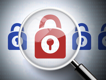 protected database: magnifying glass with closed padlock icon on digital background