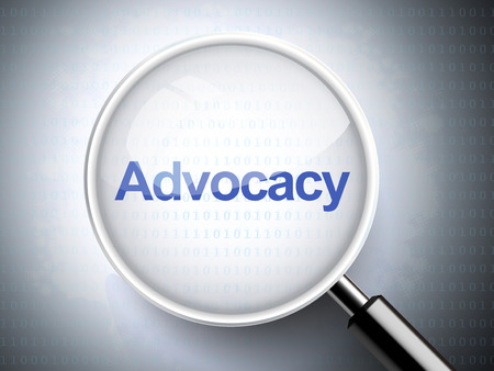 advocacy: magnifying glass with word advocacy on digital background Illustration