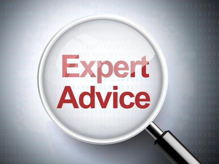 experte: Lupe mit Worten kompetente Beratung auf digitale Hintergrund