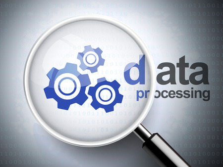 data processing: magnifying glass with gears icon and data processing words on digital background Illustration