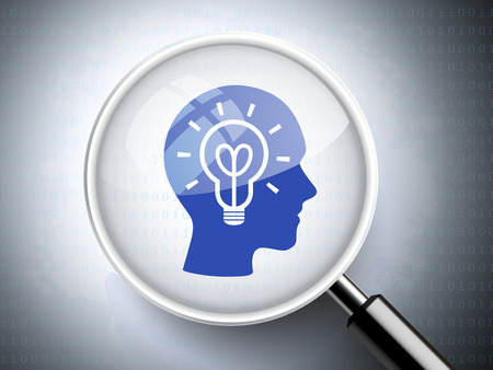 brain storm: magnifying glass with light bulb on heads icon over digital background