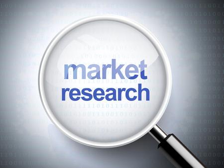 marktforschung: Lupe mit Worten der Marktforschung auf digitale Hintergrund
